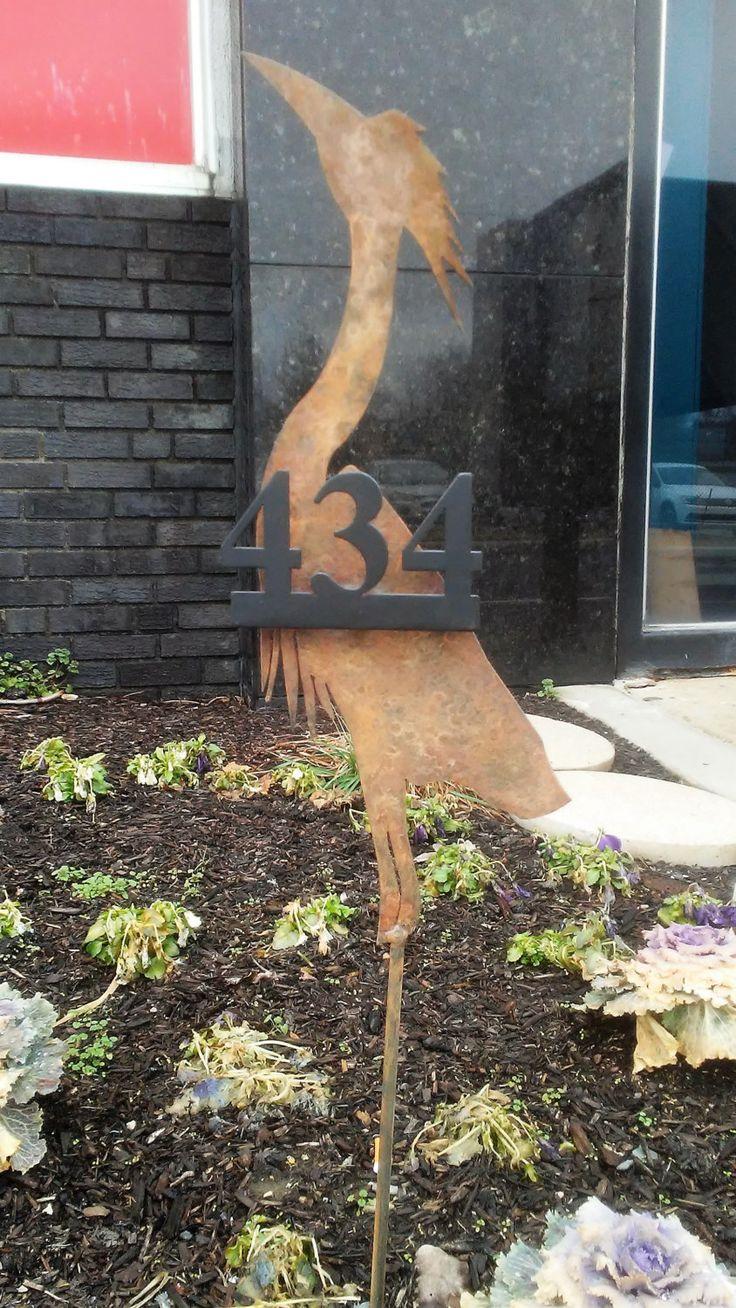 Custom Metal Blue Heron Address Sign w/ Floating Numbers Yard Art Garden Outdoor Patio Bird Sculpture Metal Fabrication Fab by NewCuttingEdge on Etsy
