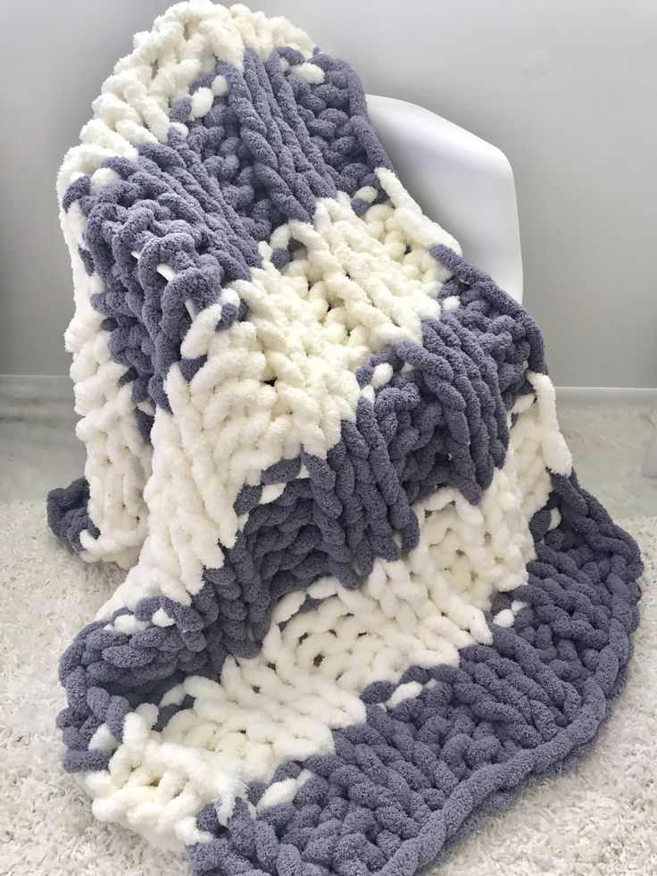 Jumbo Chenille Blanket Two Colors Double Rib Chunky Yarn Blanket Chenille Blanket Crochet Blanket Pattern Easy