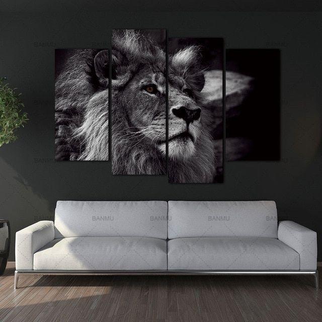 Wanddecoratie Op Canvas.13 Fris Wanddecoratie Leeuw In 2019 Portret Muur