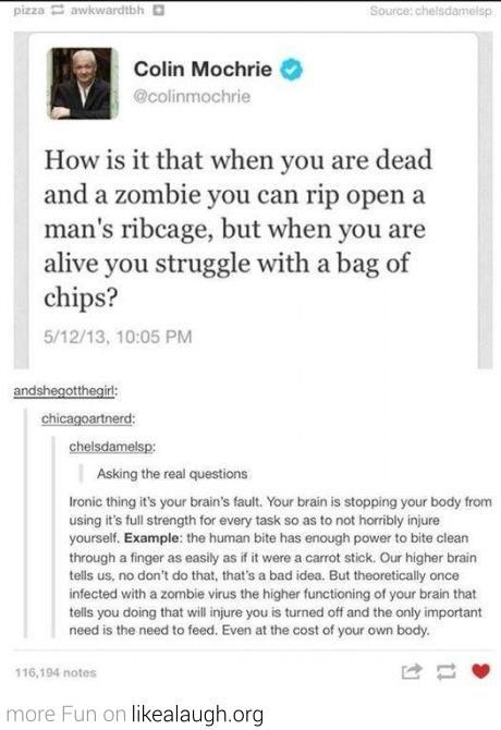 Why zombies are stronger than living people