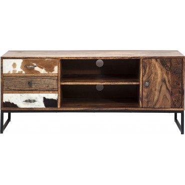 Un meuble TV en bois qui assure une originalité tout en élégance dans votre salon grâce à son mélange de matériaux.   Meuble TV en bois Rodeo 3 Tiroirs 2 Portes Kare Design