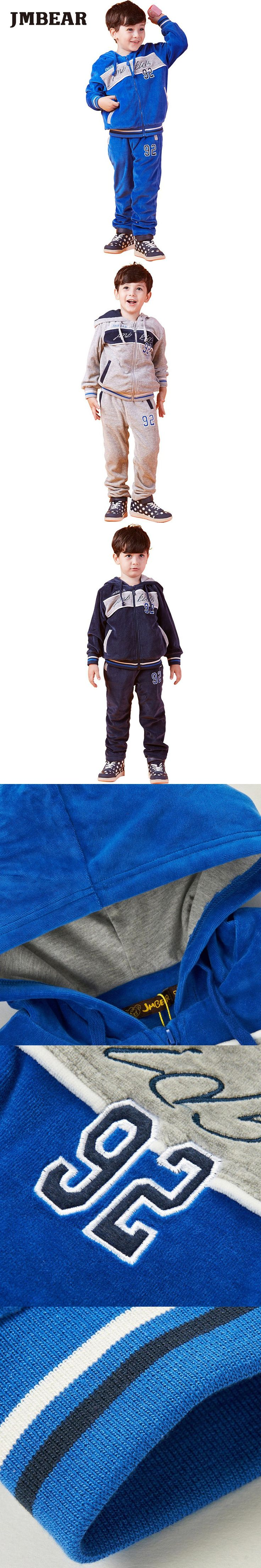 JMBEAR boys clothing set Baby Girls children brand tracksuit Suit hoodies+pants letter clothes set kids sportswear 3-14T