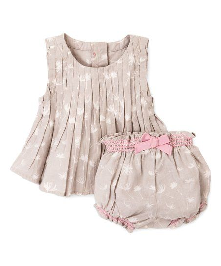Hatley Gray & White Dandelion Top & Diaper Cover - Infant & Toddler   zulily