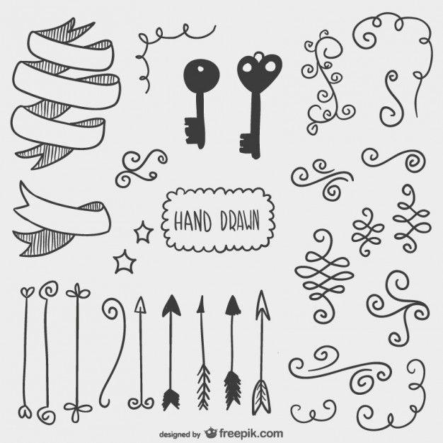 Flèches tirées, clés et autres ornements Vecteur gratuit