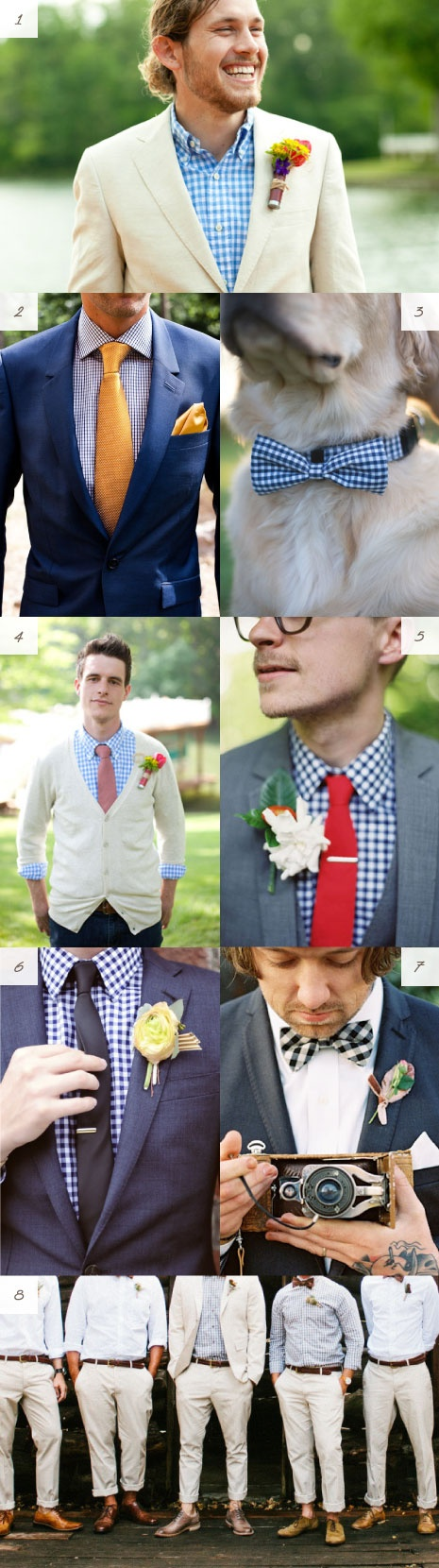 CHRIS (a note for Chris)(hi!): I like the gingham, not everyone needs to be wearing the EXACT same thing is there is a noticeable common element.