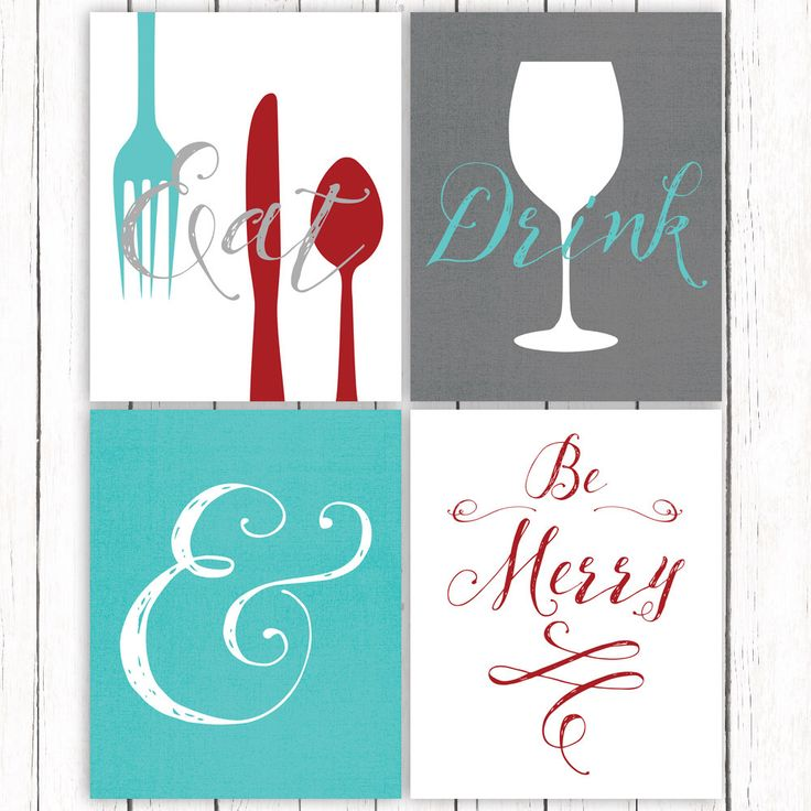 Kitchen Printable Art Set Eat Drink and Be Merry Quote Dark Red Gray Turquoise Kitchen Print 8x10 Instant Download Digital File by DigitalDriveInToo on Etsy https://www.etsy.com/listing/234819880/kitchen-printable-art-set-eat-drink-and