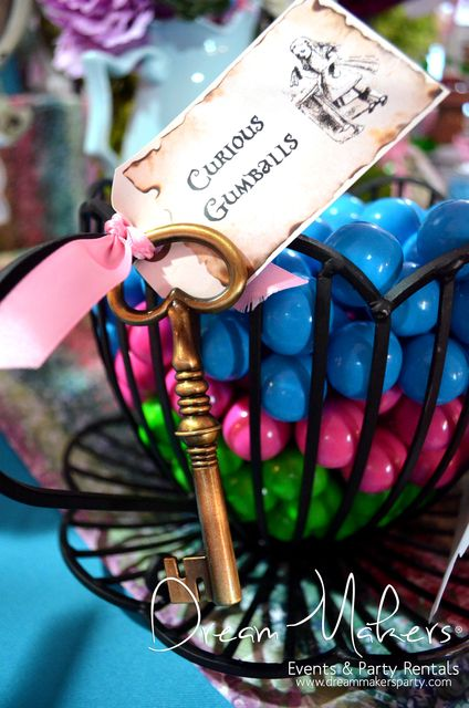 Colorful gumballs at an Alice in Wonderland Quinceañera Party! See more party ideas at CatchMyParty.com!