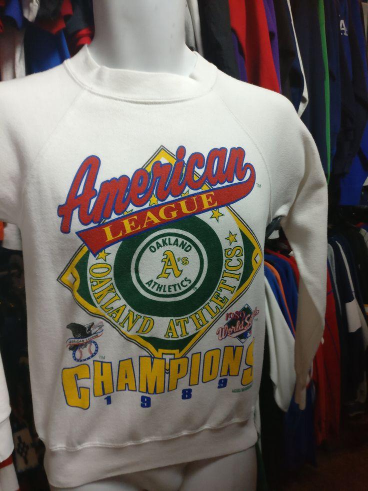 Vintage '89 OAKLAND A's MLB American League Champs Sweatshirt S