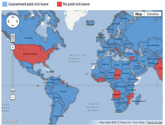 The United States earned a few splotches of blue on Tuesday. The United States is one of the few countries without any form of paid sick leave required by law. That won't change with a ...