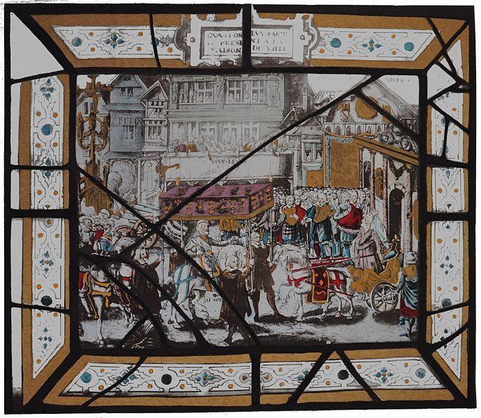 Entrée d'Henri IV à Troyes. Henry IV accueilli par Françoise le Bé, fille du maire devant l'Hostel de ville.