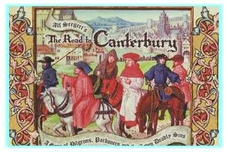 Canterbury Tales. . Each pilgrim with a tale to tell - the Knight , the Miller, the Wife of Bath... Before the journey ends .