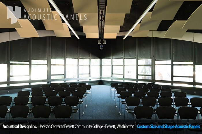 custom shaped #acoustic #wall #panels by #audimute were designed to accentuate the unique architectural style of the Jackson Center in Everett Community College
