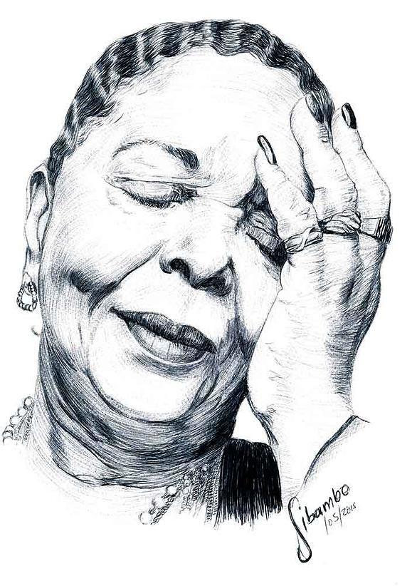Cesaria Evora ballpoint pen drawing by Sibambo Portraits