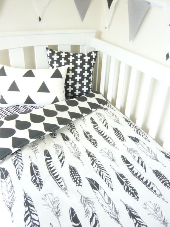 Black and white feathers nursery set by MamaAndCub on Etsy