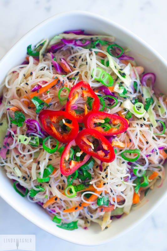 This Gluten Free Asian Noodle Salad takes just minutes to make and is gluten free, dairy free, low sugar, low cal, low fat, vegetarian, and vegan friendly!