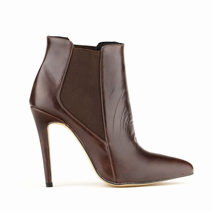 Just Bossy Leather Stiletto Ankle Boots
