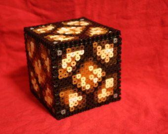 Perler Bead Minecraft red ore lamp | Light Up Minecraft Redstone Lamp I nspired Box Made of Perler Beads ...