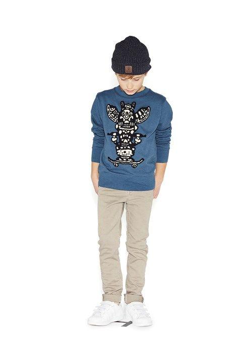 Mahpee - Dark Denim - blå sweatshirt med totemprint - molo