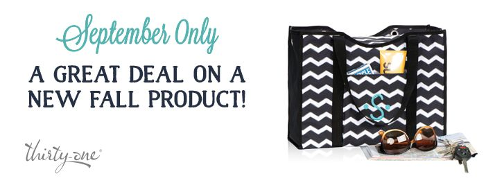 Check out the following link for 2 new Thirty One items available ONLY in September. Lets set-up a party or have a Facebook On-line book party to get in on the September ONLY Specials! www.mythirtyone.com/535682   http://assets.thirtyonetoday.com.s3.amazonaws.com/How-To-Market/201409/docs/MS_FW14_09_Sept_Flyer_US_FINAL.pdf
