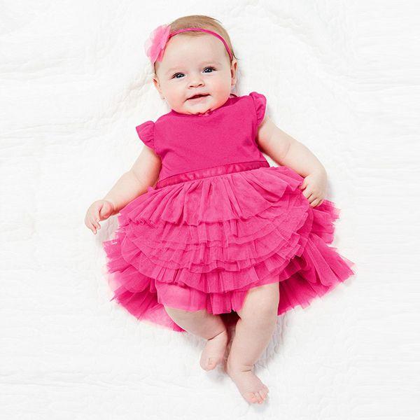 2016 Новый Малышей Девочка Торт Платье Принцессы Туту Платье Хлопок Смесей Топ Одежда 0-3Y