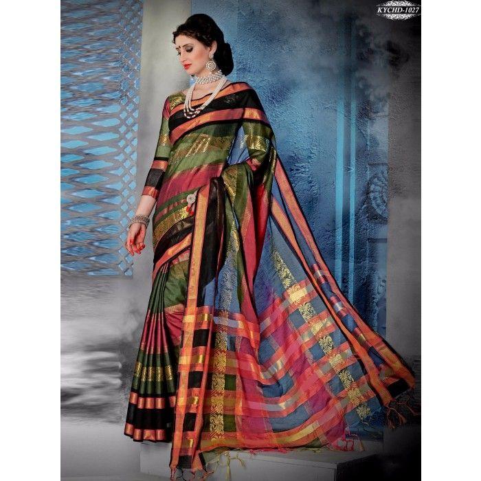 Chennai Express Cotton  Multi color Designer Sarees