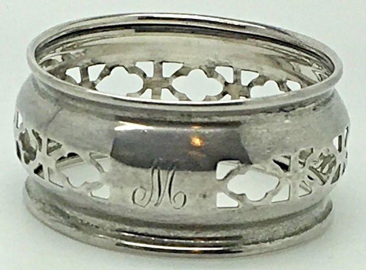Sterling Silver Napkin Ring Holder M Monogram Initial  Roden Bros Birks  #RodenBros