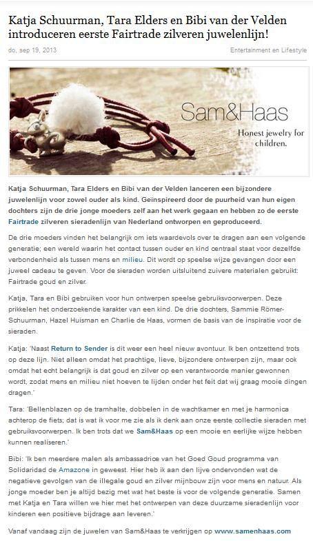 Happynews.nl September 2013 - Sam&Haas