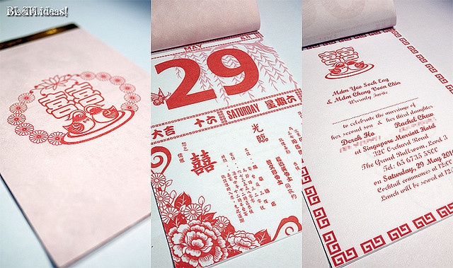 Chinese Calendar Wedding Invites by 小梁の異色宇宙, via Flickr