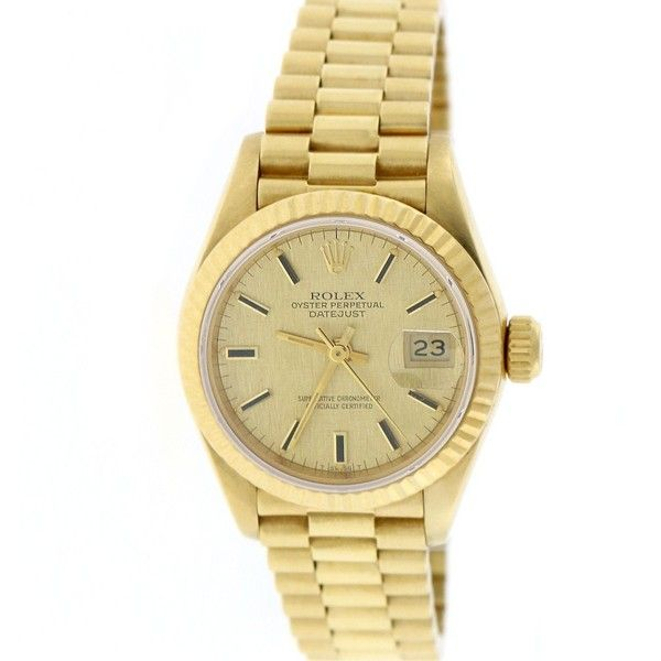 Rolex President Datejust Ladies 18K Yellow Gold 26MM Original... ($6,650) ❤ liked on Polyvore featuring jewelry, watches, gold jewelry, gold wristwatches, rolex watches, gold wrist watch and rolex wrist watch