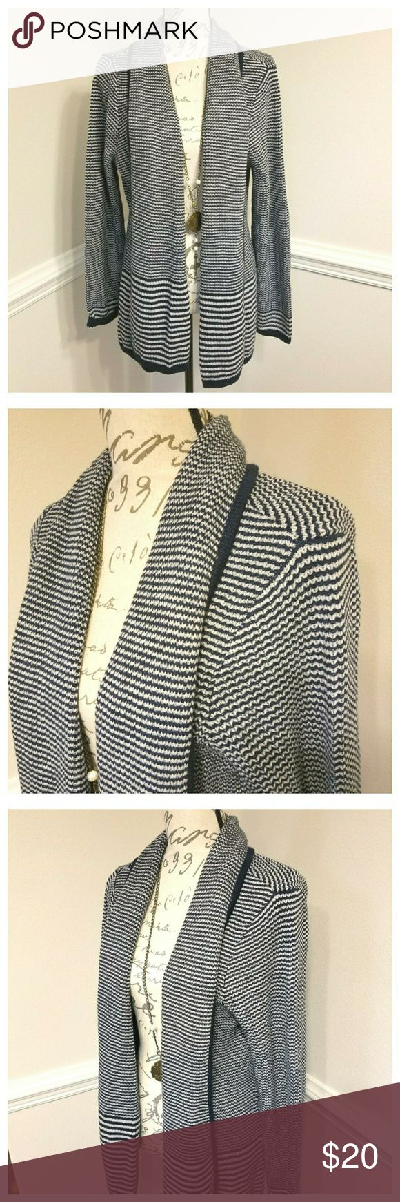 🆕️ Blue and White Cardigan with front pockets Blue and White strip cardigan. Great for any occasion material: acrylic croft & barrow Sweaters Cardigans