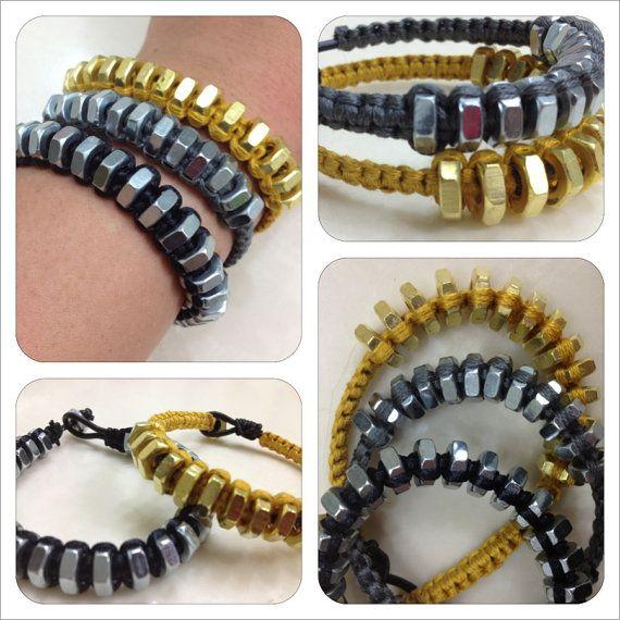 brass hex nut bracelets