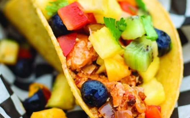 Recipe for Killer Fish Tacos with Fresh Fruit Salsa by Taste Canada finalist The SoBo Cookbook on Gusto TV.