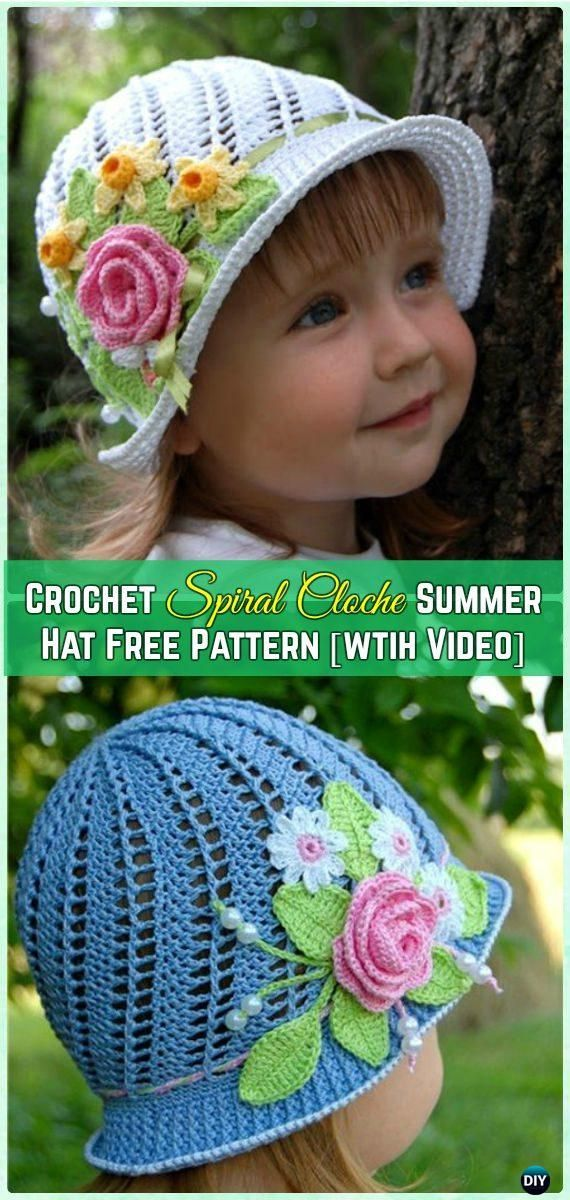 Crochet Spiral Cloche Summer Hat Free Pattern with Video - Crochet Girls Sun Hat Free Patterns