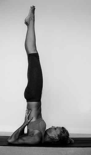 "shoulder stand #yoga  ~  ""Sarvangasana means 'the whole body' in Sanskrit, so it is unsurprising that this posture affects your entire being, bringing it to healing equilibrium.""   Liz Lark ~  '1001 Pearls of Yoga Wisdom.'"