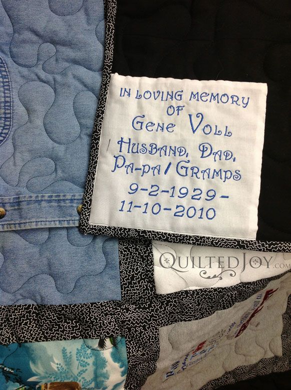 A memorial quilt made out of shirts, men's ties and work shirts. It is a sentimental way to honor a loved one who has died. Using their t-shirts, work shirts, vacation shirt and his ties. The embroidered label makes this sentimental quilt a great gift.