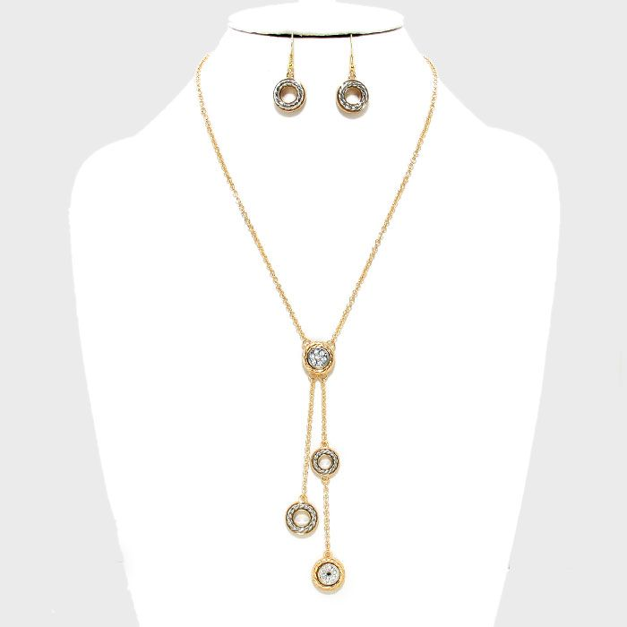 Crystal Dangle Pendant Metal Necklace and Earring Set €28