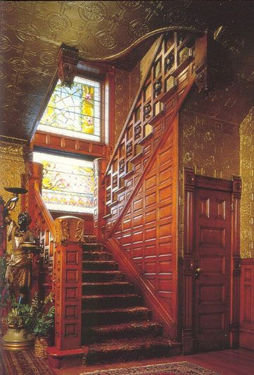 """Molly Brown, entrance hall -- I loved this stairwell and the admired """"Blackamoor"""" statue."""