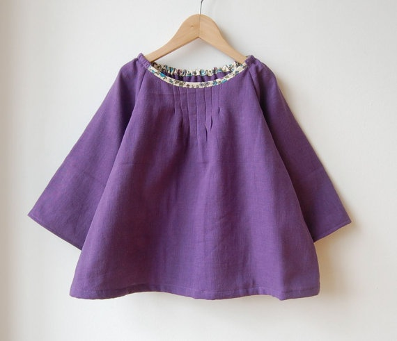 purple smocked top with hint of flower  for 3T 4T by spoontamago, $23.00
