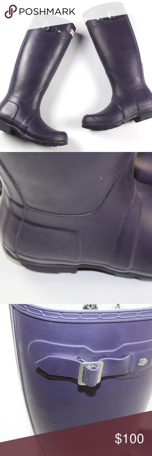Hunter Womens 5 Original Tall Rubber Rain Boots Hunter Original Tall Rubber Rain Boots  Excellent boots  Comes from a smoke-free household  The size is 5  Purple  Rubber  Check out my other items for sale in my store! Hunter Shoes Winter & Rain Boots
