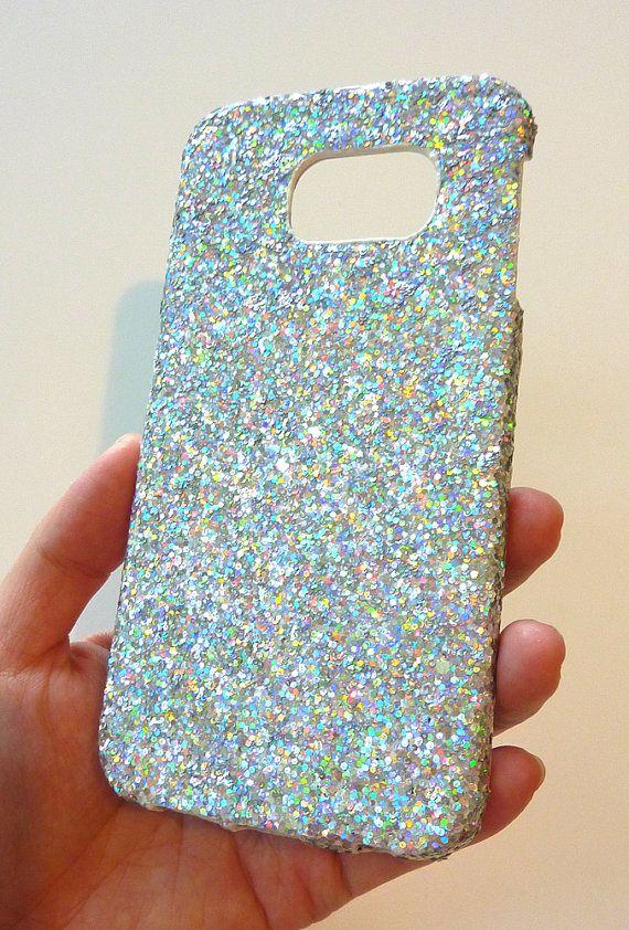 Brilliant Samsung Galaxy S 6 s6 EDGE Silver Ice Icy Multicolore Shine Super Sparkly Sparkle Glitter One of  A kind Case Cover handmade   by Yunikuna