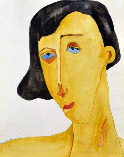 "James Picard - Blue Eyes. Watercolour on Paper. 18"" x 24"""