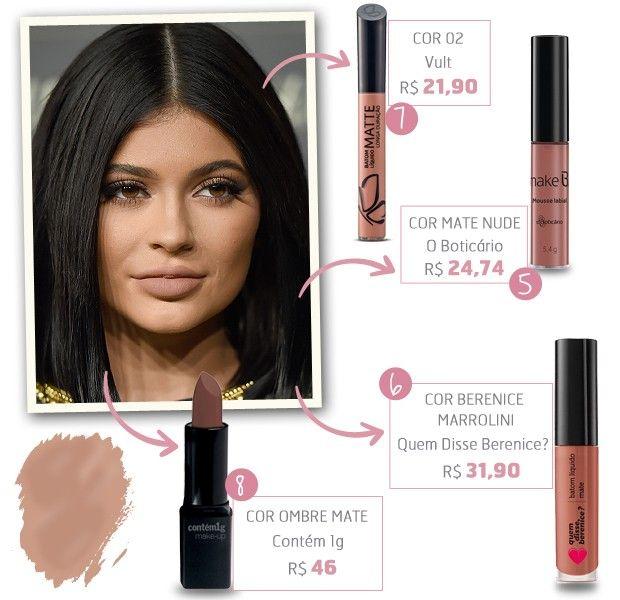 """Copie já os tons favoritos Kylie com nossa seleção de produtos """"made in Brazil"""""""