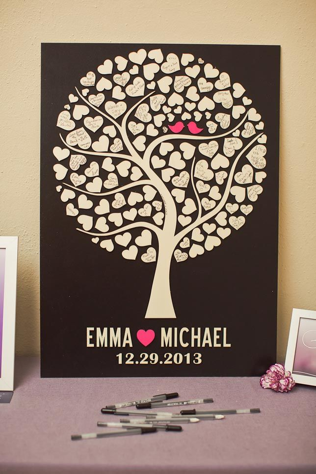 Cute heart tree guest book idea.. maybe guest fingerprints instead of hearts?
