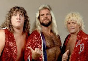 """The Fabulous Freebirds in their classic incarnation with (l. to r.) Terry """"Bamm Bamm"""" Gordy, Michael P.S. Hayes and Buddy Jack Roberts."""