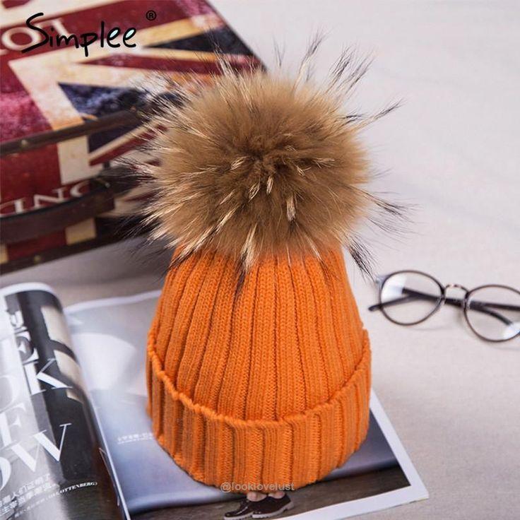 Simplee Fur Pom Pom Bobble Hats - Orange - Hats, www.looklovelust.com - 6,  https://www.looklovelust.com/products/simplee-fur-pom-pom-bobble-hats