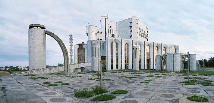 Regional drama theater named after F. M. Dostoevskiy. Novgorod, Russia.| The building was constructed in 1987. The abstract composition has some elements of the ancient Russian architecture in their modern interpretation.