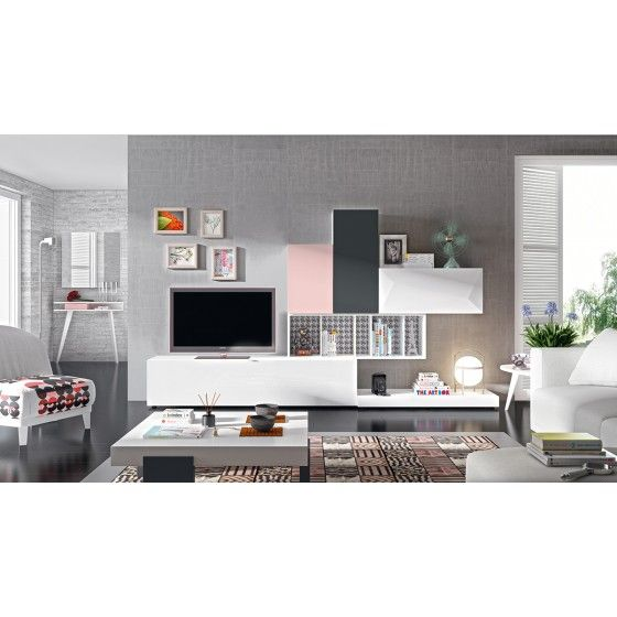 meuble tv mural jully atylia. Black Bedroom Furniture Sets. Home Design Ideas