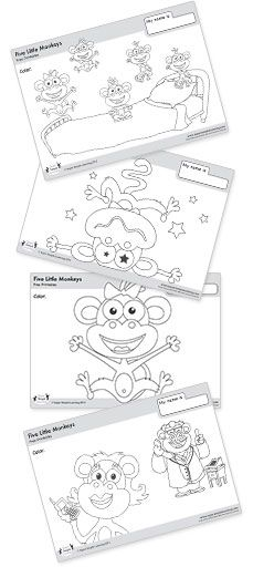 Five Little Monkeys Coloring Pages from Super Simple Learning.