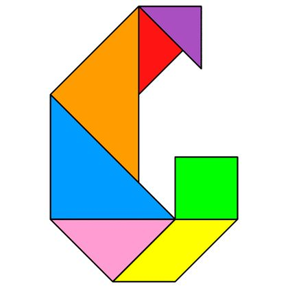Tangram Letter G - Tangram solution #112 - Providing teachers and pupils with tangram puzzle activities