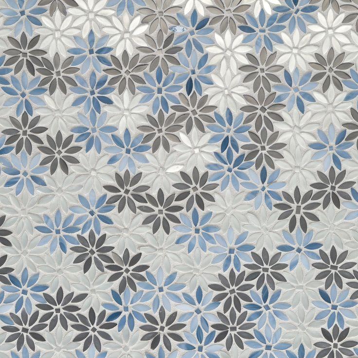 Artistic Tile Dapper Daisy Blue Silver Water Jet